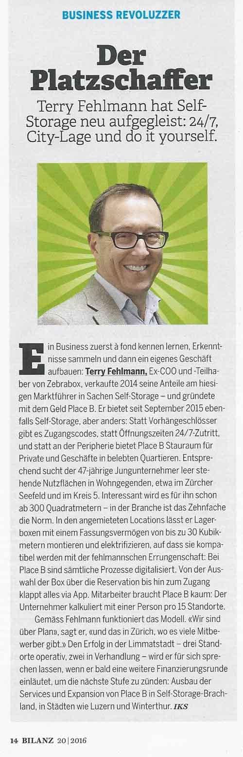 """Bild: Artikel in Bilanz """"Der Platzschaffer Terry Fehlmann"""""""