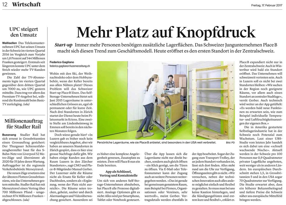 Bild: Artikel Luzerner Zeitung 17. Februar 2017 zur Eröffnung in Kriens